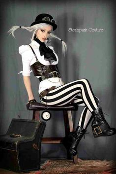 I am thinking of making a Steampunk Mime Costume. Kato Steampunk, Steampunk Couture, Steampunk Cosplay, Steampunk Clothing, Steampunk Fashion, Gothic Fashion, Gothic Steampunk, Steampunk Pants, Steampunk Halloween