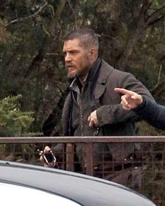 Tom Hardy in costume on the set of Taboo in Surrey, England, November 26, 2015.