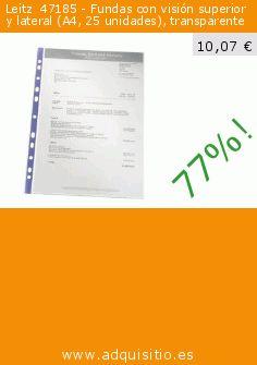 Leitz  47185 - Fundas con visión superior y lateral (A4, 25 unidades), transparente (Productos de oficina). Baja 77%! Precio actual 10,07 €, el precio anterior fue de 43,31 €. http://www.adquisitio.es/leitz/47185-fundas-visi%C3%B3n