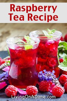 Easy Raspberry Tea Recipe - 13 Homemade Flavored Tea Recipes - Red Tea Is Best Fruit Drinks, Smoothie Drinks, Non Alcoholic Drinks, Healthy Drinks, Cocktails, Beverages, Cold Drinks, Tea Drinks, Party Drinks