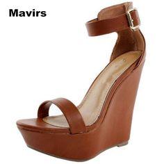 Mavirs Fashion summer women s ladies girls students princess bride party  sexy buckle wedges high heels shoes c5520b80e173
