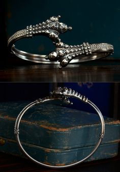 1886 Victorian Etruscan Revival Bird Claw Bracelet, Sterling Silver, English (sold)