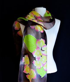 Silk scarf, hand painted lovely and delicate yellow and pink flowers on a warm brown background  14x72 inches Ready to Ship