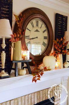 EASY FALL MANTEL-clock-stonegableblog.com