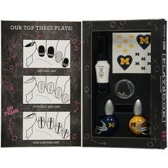 Want to ensure that you have the best nails at the tailgate? Check out this awesome Nail Art Playbook, which will show you how to do a bunch of different designs and provide you with the necessary products. Wolverine Nails, Mississippi State Baseball, Michigan Go Blue, College Necessities, Line Nail Art, College Football Season, Lines On Nails, Gem Nails, Color Club