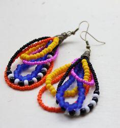 multicoloured tribal african inspired beaded dangle earrings