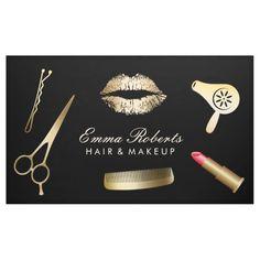 Makeup Artist Hair Stylist Modern Black & Gold Banner