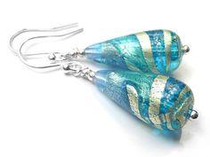 Murano Glass Tear Drop Earrings - Aqua and Sapphire Swirl