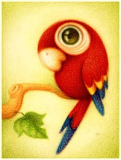 So cute-HJM- Guara roja. by ~faboarts on deviantART Art And Illustration, Animal Drawings, Cute Drawings, Art Mignon, Bird Art, Oeuvre D'art, Cute Cartoon, Cute Art, Amazing Art
