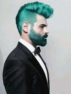 I know hes not a woman but damn!!!! this was too hot not to pin!!!! radical: green mohawk and beard + shaved sides. so cool