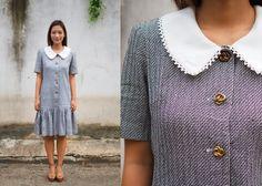Vintage Dress/ Vintage 1980s Dress/ Vintage Japanese Dress/ Vintage Womens Dress/ Tweed Dress/  Tweed/ Womens Dress/ 80s Dress by hisandhervintage on Etsy