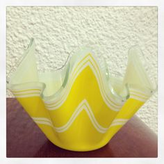 Yellow Handkerchief Vase by Chance Glass - from 1969, design is called Bandel 2