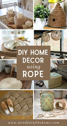 15 DIY Home Decor Ideas Using Rope These DIY rope crafts make perfect additions to coastal and rustic home decor. You can find rope at the dollar store, making these projects super budget-f Diy Craft Projects, Diy Crafts For Home Decor, Diy Crafts Hacks, Diy Crafts To Sell, Diy Crafts For Kids, Best Diy Projects, Home Craft Ideas, Money Making Crafts, Rustic Crafts