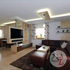 Attic Living Rooms, Condo Living, Living Room Remodel, Small Living Rooms, Living Room Decor, Tv Unit Furniture, Furniture Design, Tv Stand Room Divider, Living Room Tv Unit Designs