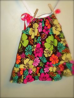Hawaiian Print baby girl Dress and Diaper Cover