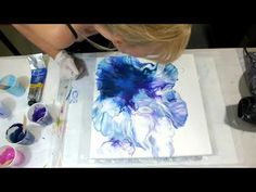 Blue and Purple Dutch Pour The colors are Artist loft- light blue, Basics- Dioxizine Purple, Winsor Newton- Colbalt Blue, and Prussian Blue Here's a link to . Acrylic Painting Tips, Acrylic Pouring Art, Acrylic Art, Diy Painting, Pour Painting Techniques, Painting Videos, Metallica, Glow Paint, Art Tutorials