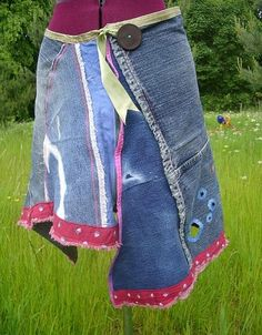 reconstructed denim jeans....made into unique one off skirt