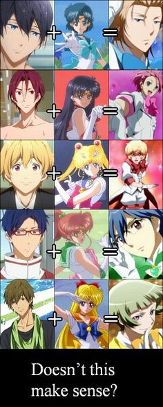 Crossoversssssssss crossover. Free iwatobi swim club + sailor moon = Cute high earth defense club love !!!!