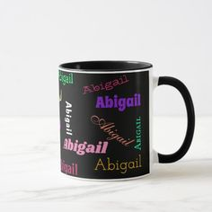 Repeating Name on Black Colorful Text Gift Coffee Mug best friend graduating, ideas for your best friends birthday, best friend rules #bestfriendforever #bestfriendsgoals #bestfriendsever, christmas table decorations, christmas tablescapes, christmas table, christmas dining table decor Christmas Dining Table, Christmas Tablescapes, Christmas Table Decorations, Quinceanera Invitations, Best Friend Birthday, Coffee Mugs, Monogram, Names, Colorful