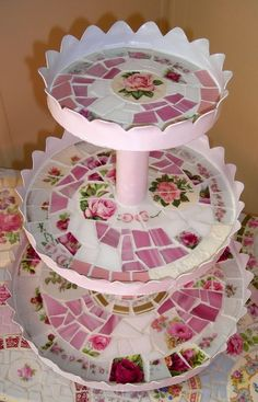 3 Tier Stand - Pink China Roses Mosaic Tile