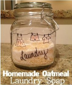 Laundry soap is an item that I will no longer pay for. I stumbled upon a homemade laundry soap recipe from Soule Mama awhile back Homemade Cleaning Products, Natural Cleaning Products, Diy Cleaners, Cleaners Homemade, Homemade Shower Cleaner, Homemade Oatmeal, Oatmeal Soap, Clean Baking Pans, Car Cleaning Hacks