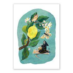 Portfolio website of artist and illustrator Livia Coloji Lemon Art, Skeleton Art, Lowbrow Art, The Grim, Grim Reaper, Memento Mori, Tea Time, Giclee Print, Scene