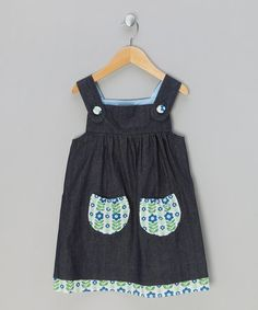 Denim & Blue Folk Flower Pinafore Dress - Infant, Toddler & Girls by Little Folk on #zulilyUK today!
