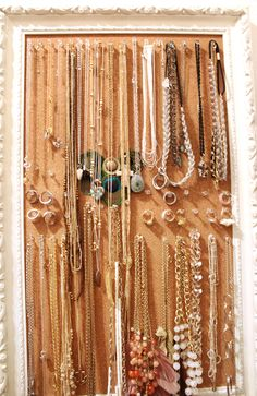 Jewelry organization with cork board and push pins