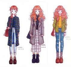 Kim Go Eun Style, My Style, Grunge, Sweet Drawings, Cheese In The Trap, Art Hoe Aesthetic, University Outfit, Punk, Drawing Clothes