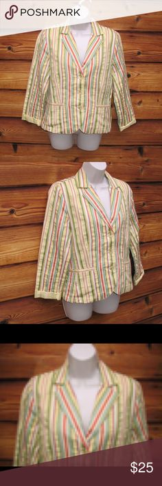 "CAbi Egyptian Cotton Striped Blazer CAbi Egyptian Cotton Striped Blazer  *Excellent condition.  Details: CAbi Size: 8 Color: Yellow/Multi Seersucker-like fabric Three button front closure Two front open pockets Unlined Made of 61% Mercerized Egyptian Cotton/44% Rayon/5% Polyester  Measurements: Length: 23"" Bust: 358"" Waist: 34"" CAbi Jackets & Coats Blazers"