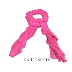 Bright Scarf (Shocking Pink) - Bright pink scarf is a lightweight linen-weave poly that is perfect for summer. #Scarf #Jewellery #Accessories #Fashion #LACOSETTE #COSETTE