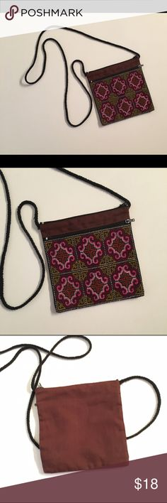 Boho Crossbody Bag This is an adorable statement piece with a purpose. This Boho Crossbody Bag is 6 X 6. So very cute to accentuate any outfit. Bags