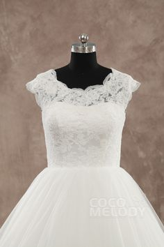 Perfect Natural Train Tulle Ivory Cap Sleeve Wedding Dress with Appliques LWXT15077 #weddingdress #cocomelody