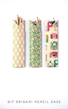 These origami pencil cases are so perfect! I have some really pretty paper I haven't found a use for. Score!!!