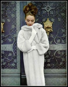 Model in Tourmaline EMBA mink coat by Christian Dior, photo by Virginia Thoren-Rice at Hessicher Hof, Frankfurt, Germany, 1963