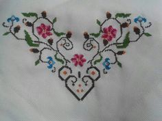 "Kolay mass ""Discover thousands of images about Kòse çi eklerc"" Cross Stitch Borders, Cross Stitch Rose, Cross Stitch Flowers, Cross Stitch Charts, Cross Stitch Designs, Cross Stitching, Cross Stitch Patterns, Embroidery Hearts, Ribbon Embroidery"