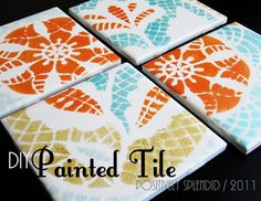 DIY Painted Ceramic Tile Tutorial | Positively Splendid {Crafts, Sewing, Recipes and Home Decor}