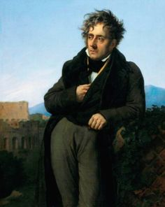 Chateaubriand has fashionably touseled hair. He wears a long redingote over his coat, tan waistcoat, white shirt and dark cravat, 1808.