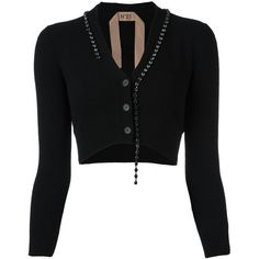 Nº21 embellished cropped cardigan (1.325 BRL) ❤ liked on Polyvore featuring tops, cardigans, black, embellished cardigan, crop top, cardigan top, cardigan crop top and cut-out crop tops
