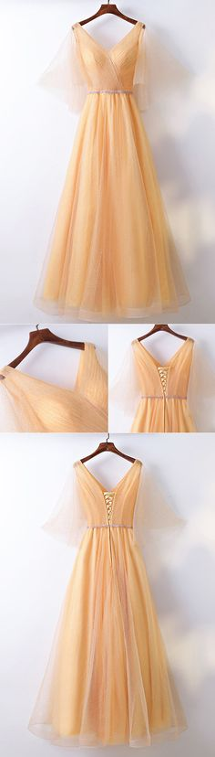 Only $109, Classy Yellow Long Tulle Cheap Formal Party Dress V-neck With Bling #MYX18269 at #SheProm. SheProm is an online store with thousands of dresses, range from Formal,Party,Yellow,Gold,A Line Dresses,Sparkly Dresses,Long Dresses,Customizable Dresses and so on. Not only selling formal dresses, more and more trendy dress styles will be updated daily to our store. With low price and high quality guaranteed, you will definitely like shopping from us. Shop now to get $10 off!
