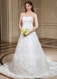 A-Line Princess Sweetheart Chapel Train Organza Satin Wedding Dress With  Lace Sash Beading 41b59657aaa6