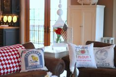 old flour sacks made into pillows