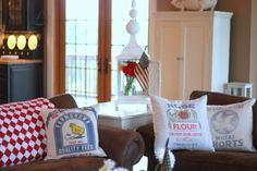 old flour sacks made into pillows