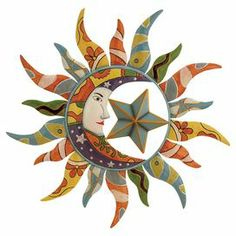 """Add eye-catching appeal to your entryway or kitchen with this multicolor metal wall decor, showcasing a celestial-inspired design.  Product: Wall decorConstruction Material: MetalColor: MultiFeatures:Celestial-inspired designDimensions: 25"""" Diameter Note: Not recommended for outdoor useCleaning and Care: Wipe with dry cloth"""