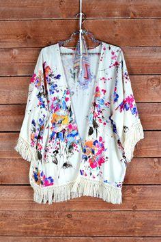 Bohemian Flower Fringed Cardigan IN STOCK by Sophiaschicboutique, $44.00