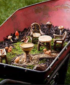 Loving this Fairy Garden Mini Furniture Set on #zulily! #zulilyfinds