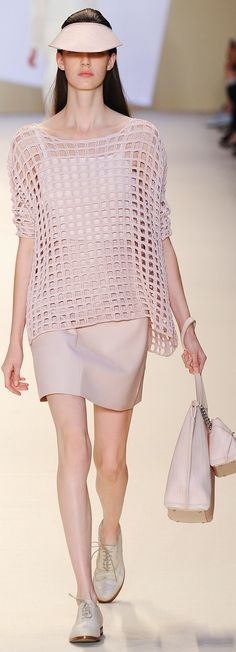 Akris Spring 2015. Double crochet filet top.