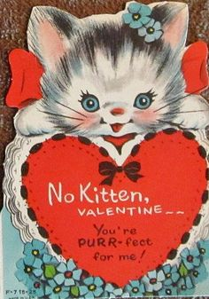 """Vintaged """"kitten"""" theme Valentine with forget-me-nots."""