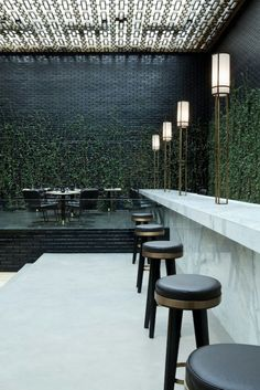indoor vines at Beefbar restaurant in Monaco