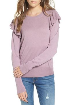 Free shipping and returns on BP. Knit Ruffle Sleeve Pullover at Nordstrom.com. Playful ruffles accent the shoulders of a lightweight sweater knit from a supersoft cotton blend.